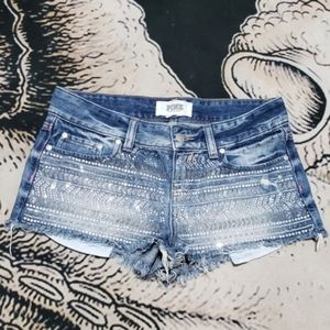 Vs pink embellished gem denim shorts 4